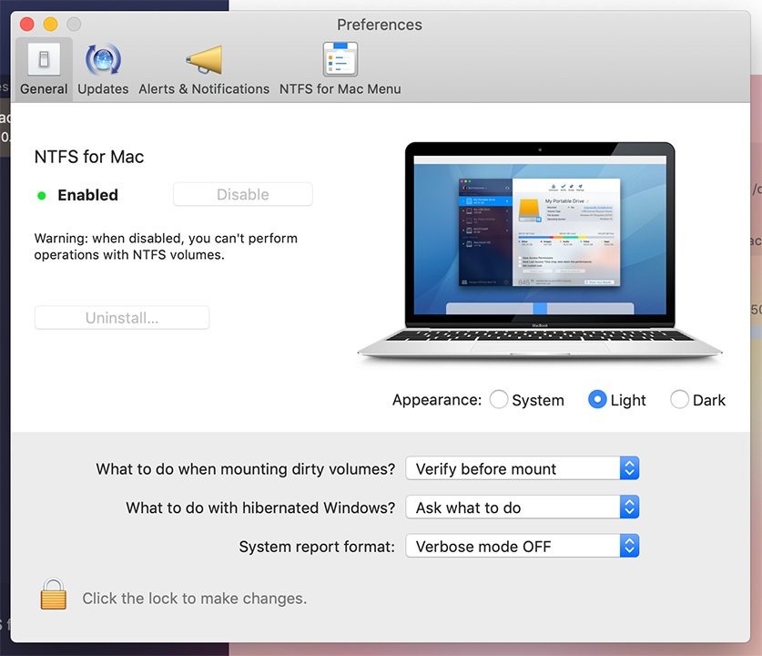Paragon NTFS for Mac 15 preferences uninstall preview