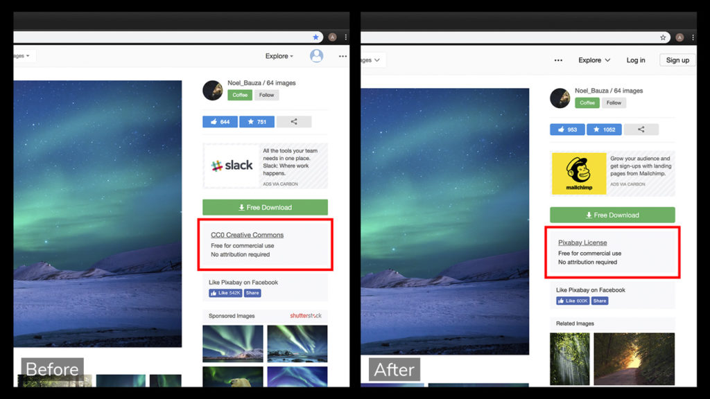 Screen shot of a Pixabay page for a photo with the license type, before and after the change.