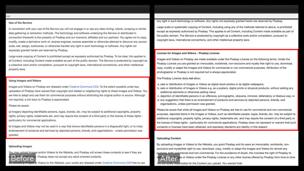 Screen shot of Pixabay's image license legal text, before and after the change.