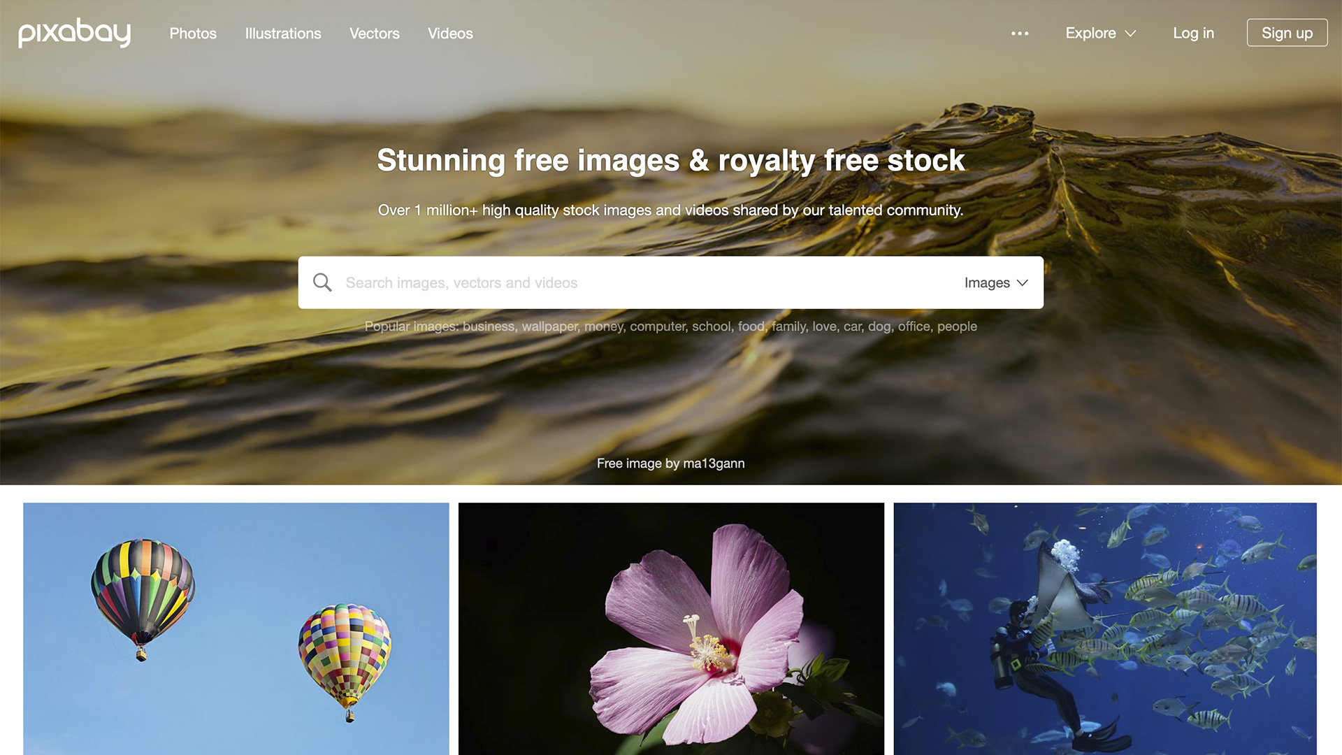 Screen shot of the Pixabay website