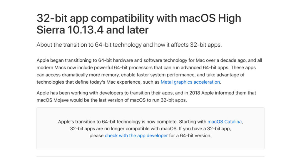 Screen shot of Apple's webpage about dropping 32-bit support
