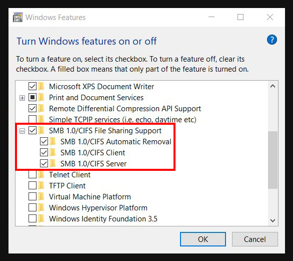 """Screen shot illustrating the """"SMB 1.0/CIFS File Sharing Support"""" items in """"Windows Features""""."""